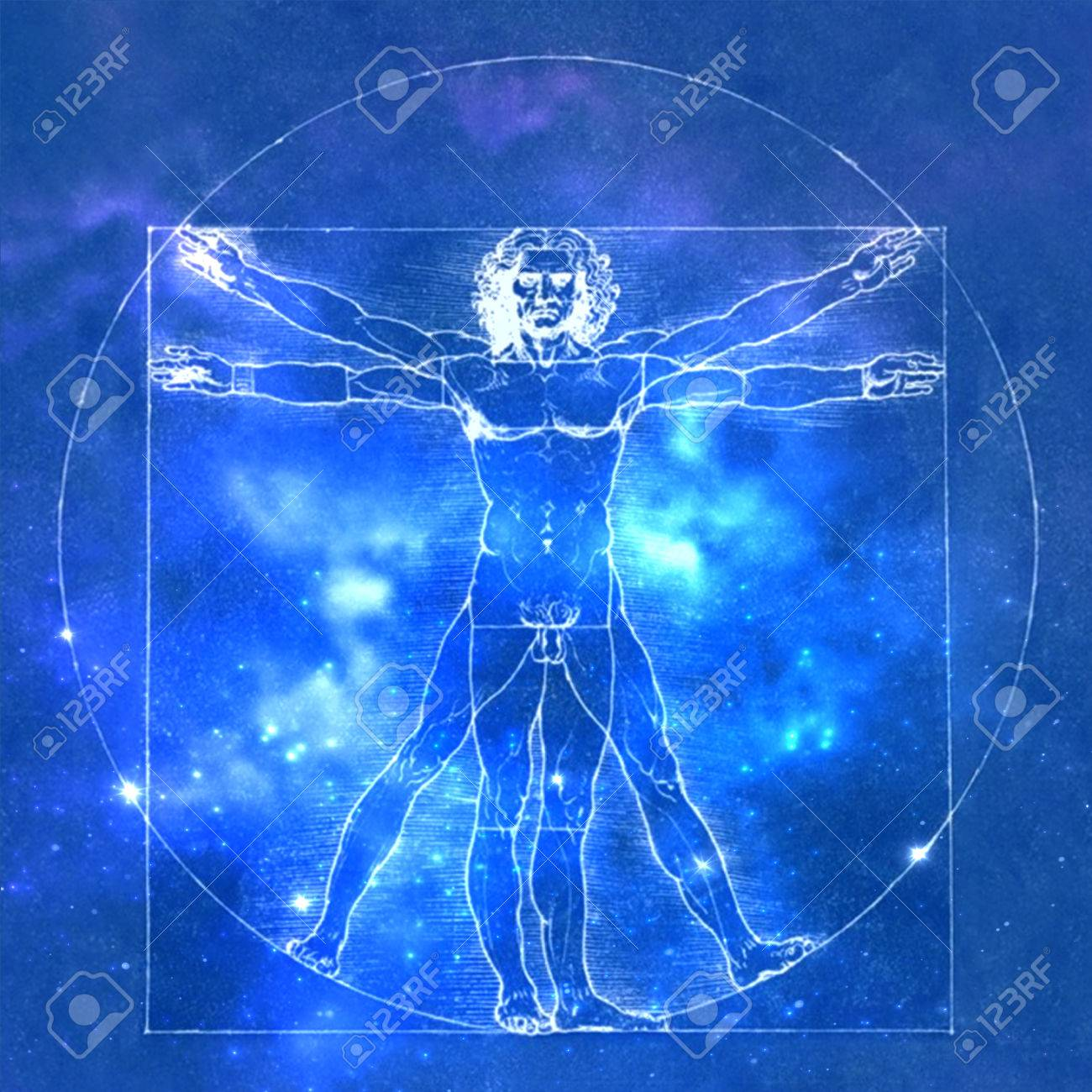 Leonardo Da Vinci Vetruvian Man Human Anatomy Cosmic Background 1300x1300