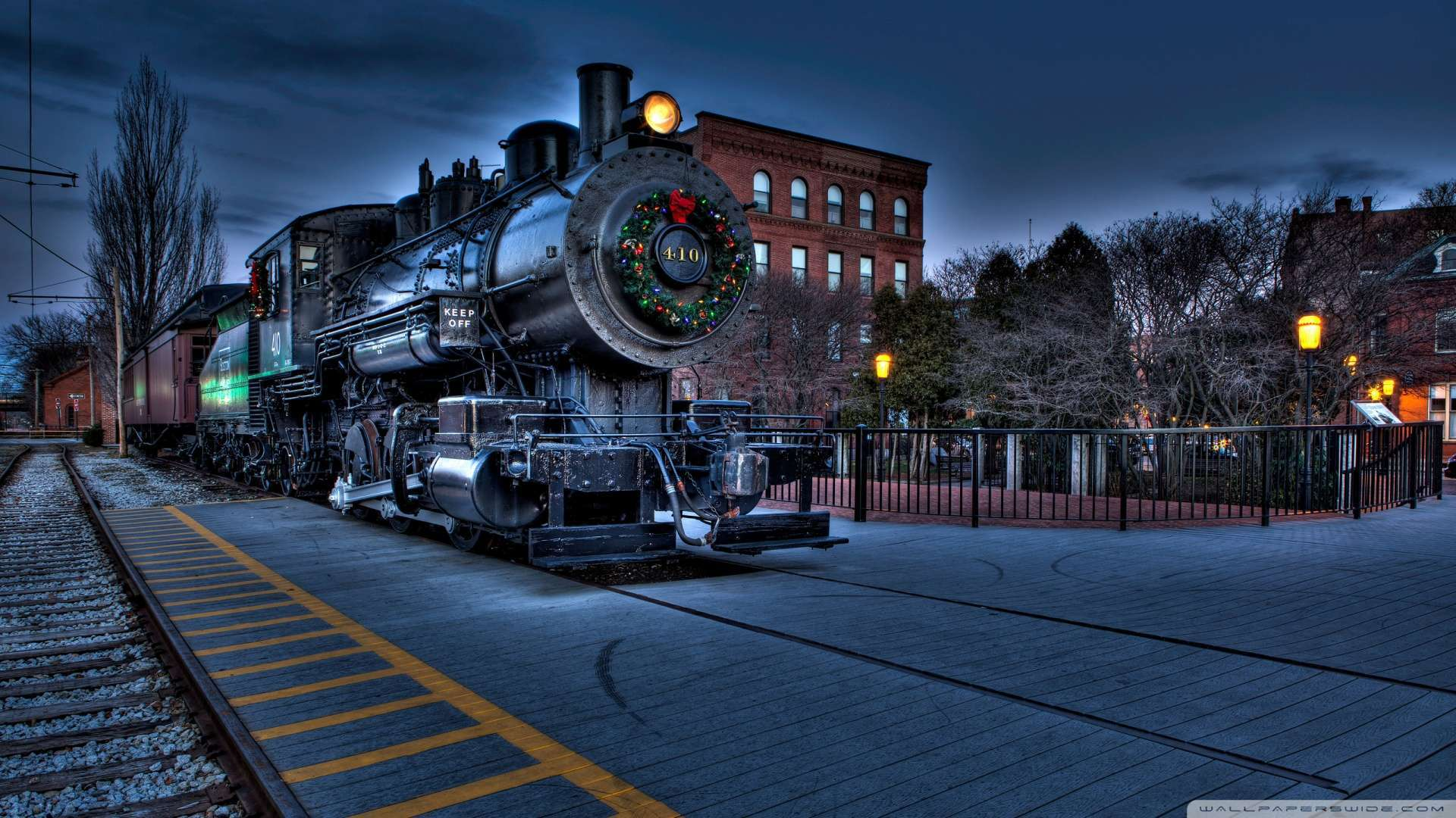 Wallpaper Christmas City Locomotive Railway Wallpaper 1080p HD 1920x1080