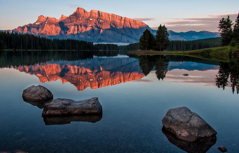 Wallpaper landscape mountains nature lake reflection stones 1332x850