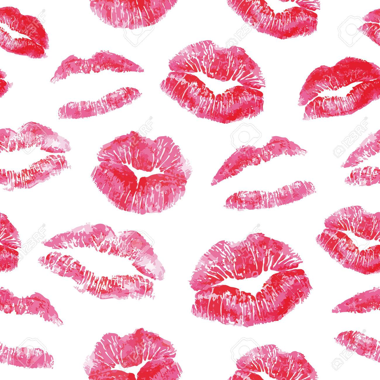 Seamless Pattern   Red Lips Kisses Prints Background Realistic 1300x1300