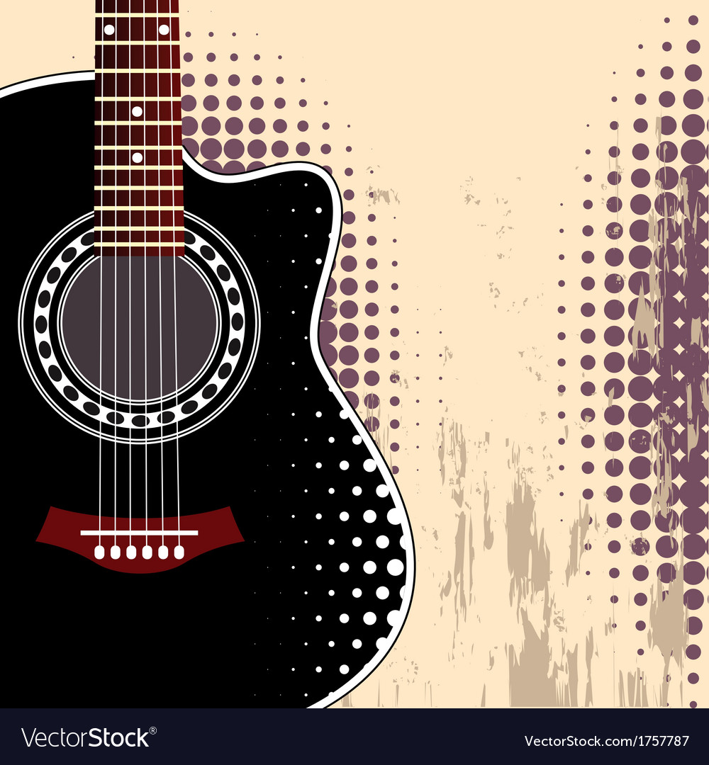 Background with acoustic guitar Royalty Vector Image 1000x1080