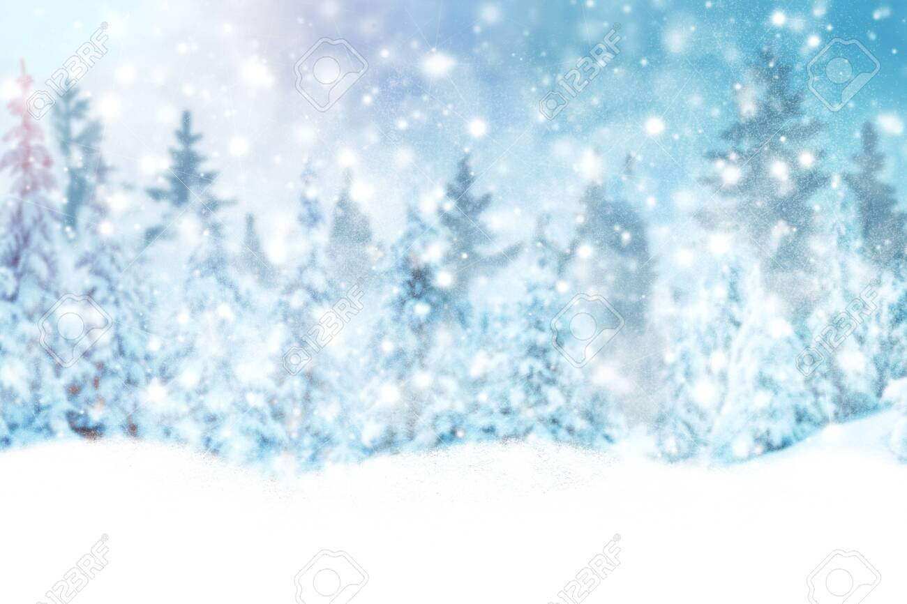 Winter Background Of Snow And Frost With Space For Your 1300x866