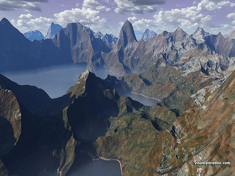 water clouds fog serene peaks mountains steep 3d wallpaper 800x600
