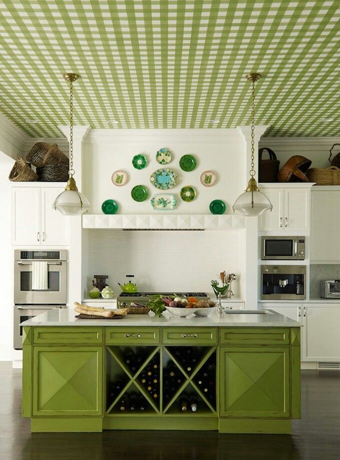 Free Download Green Kitchen Wallpapered Ceiling Wallpaper Ideas Pinterest 680x919 For Your Desktop Mobile Tablet Explore 43 Green Kitchen Wallpaper Green Computer Wallpaper Black And Green Wallpaper Green Wallpaper For Walls