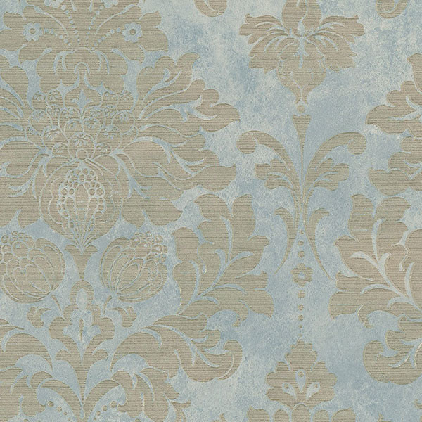 Large Damask in Gold on Turquoise   MD29418   Traditional   Wallpaper 600x600