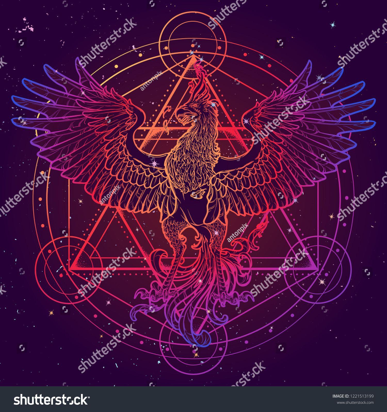 Mythycal bird Phoenix Davids star on a background Alchemy 1500x1600