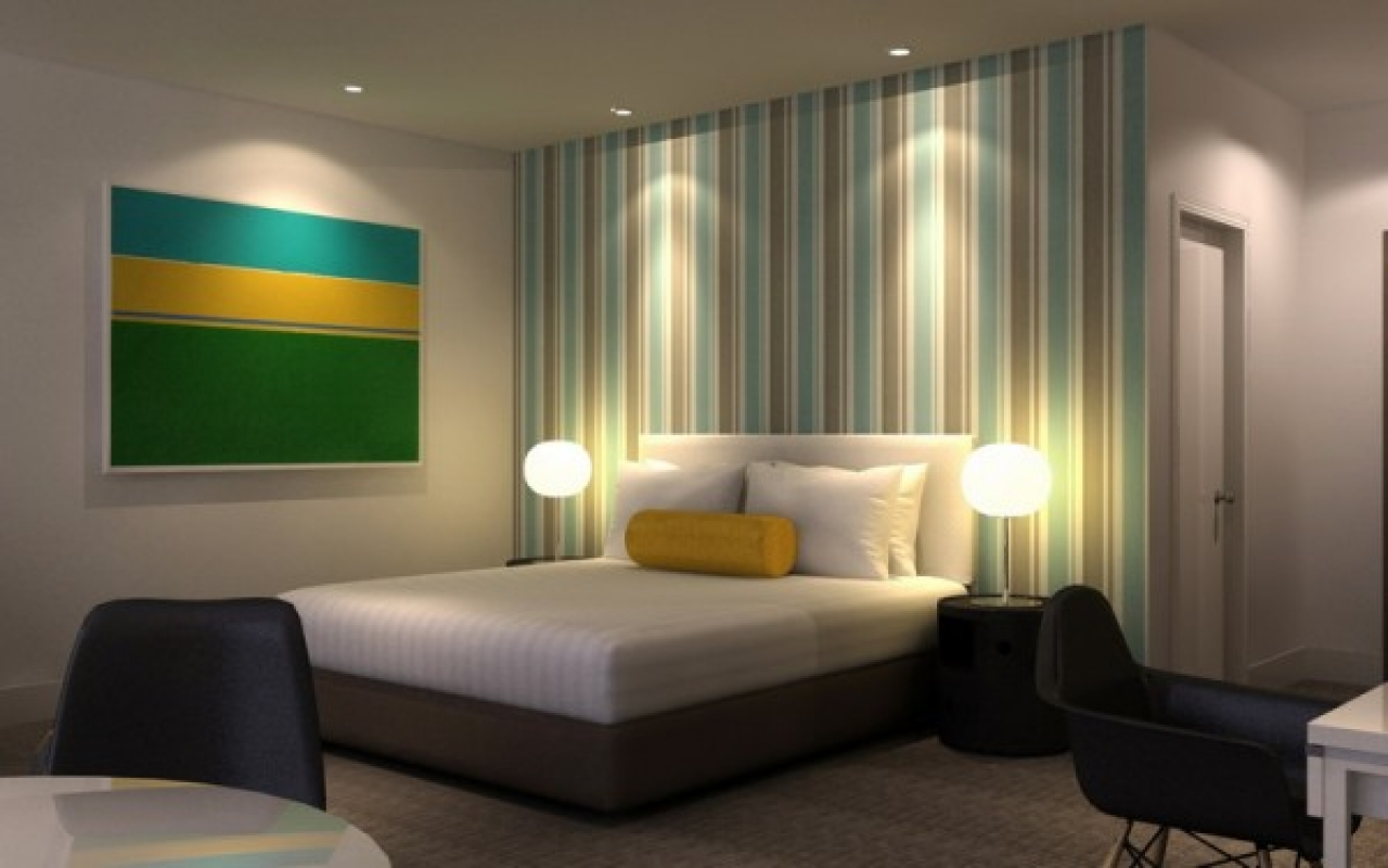 Modern bedroom designs with green stripes wallpaper picture modern 1280x800