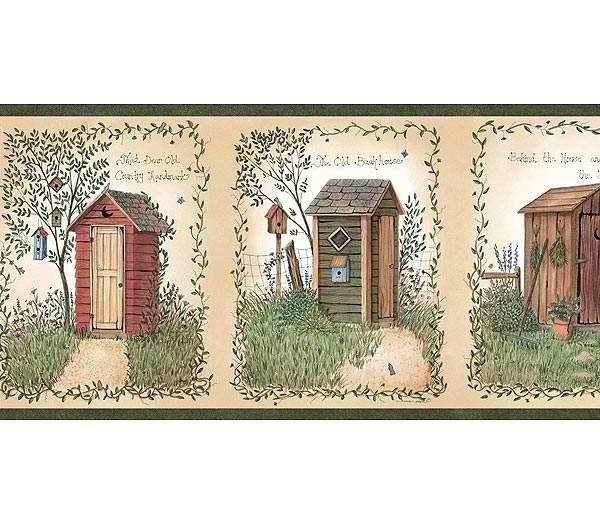 Outhouses Wallpaper Border   Rustic Country Primitive 600x525