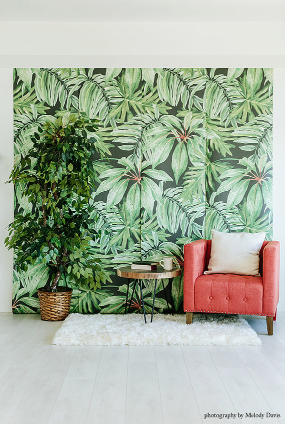 Banana Leaf   Large Wall Mural Watercolor Mural Martinique Wallpaper 570x849