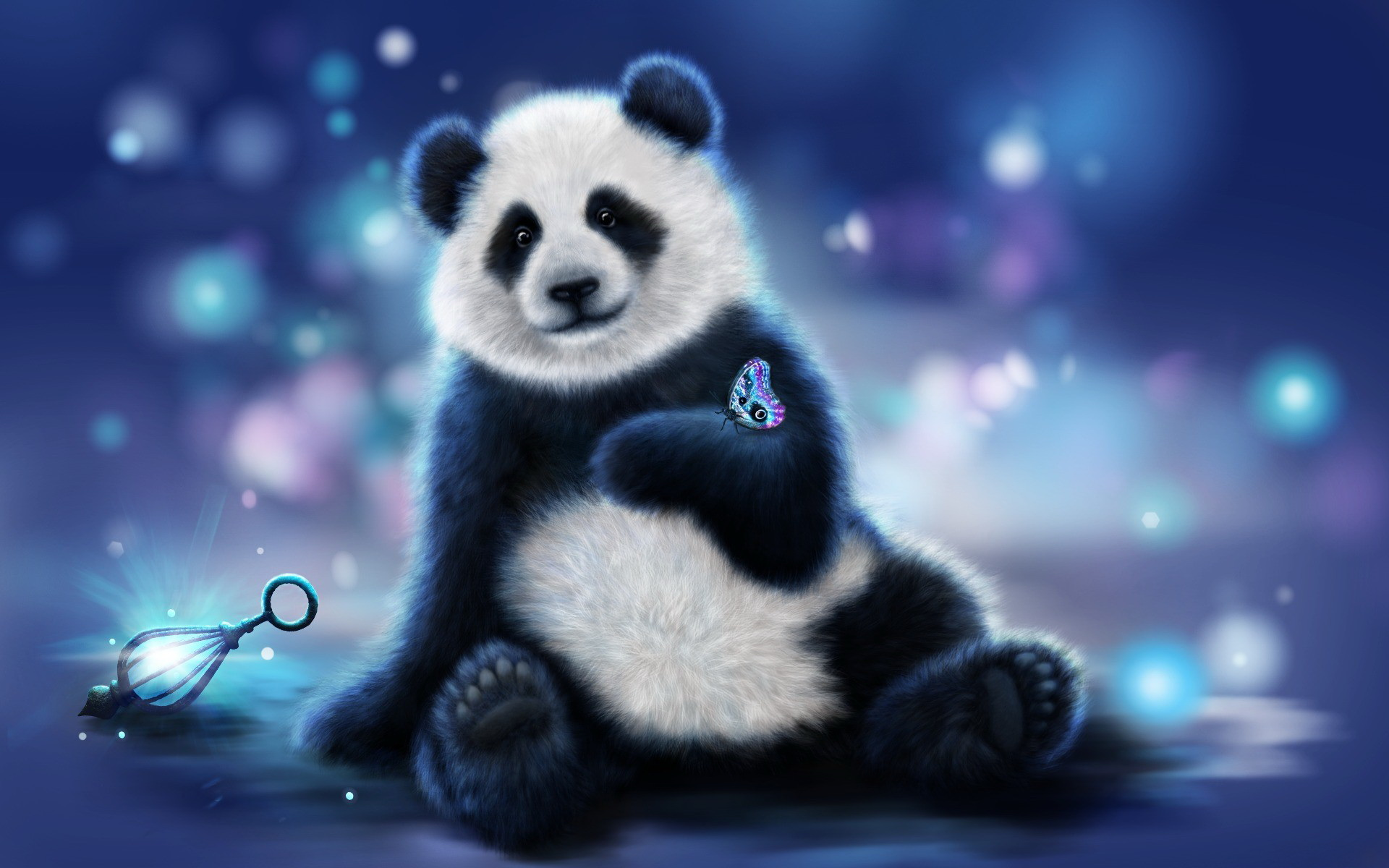 Butterfly on Cute Panda Hand Animated Wallpaper wallpaper 1920x1200