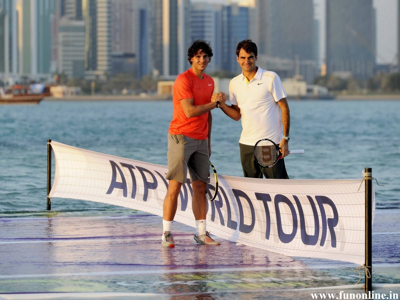 Rafael Nadal with Roger Federer in ATP World Tour Wallpaper 1600x1200