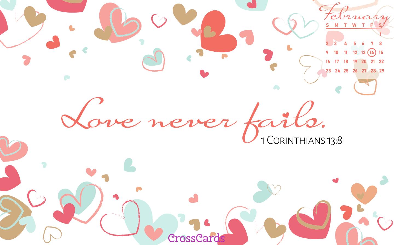 February 2020   Love Never Fails Desktop Calendar  February 1440x900