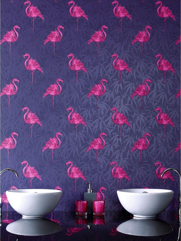 Contour Flamingo Wallpaper   Indigo verycouk 736x979