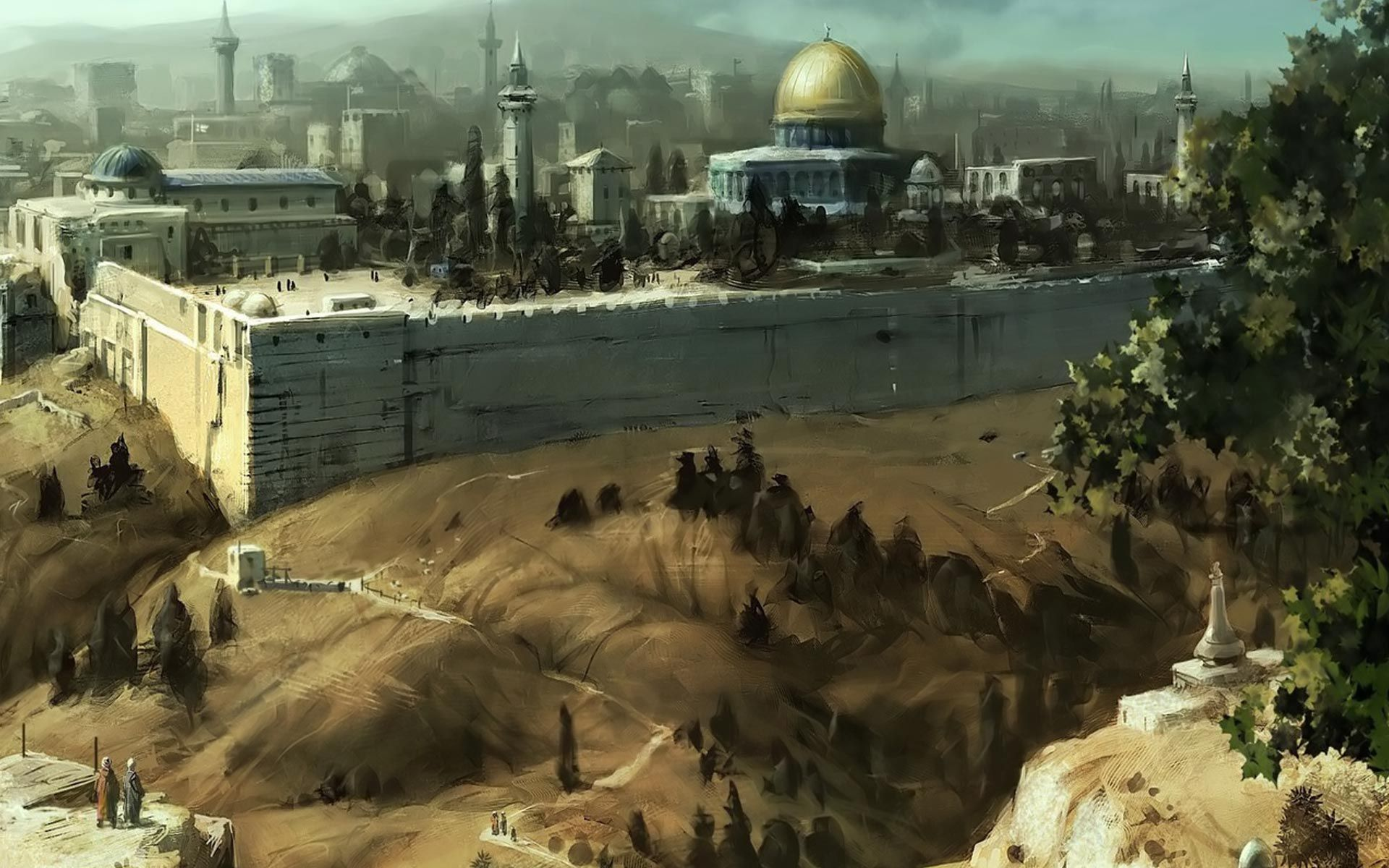 Awesome Jerusalem Oil Painting Picture of Art Wallpapers HD 1920x1200