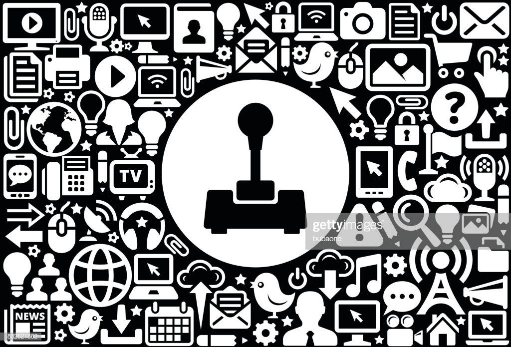 Joystick Icon Black And White Internet Technology Background High 1024x695