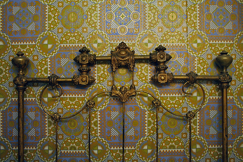 Brass headboard and wallpaper   a photo on Flickriver 500x333