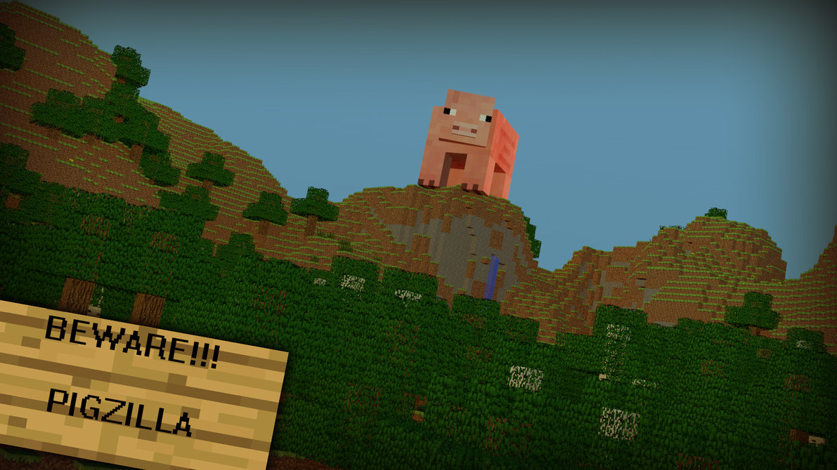 Minecraft Wallpaper 1 Pigzilla by rwwpl 1191x670