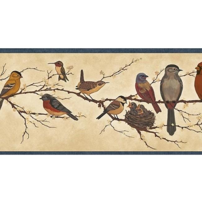 BIRDS ON BRANCHES W BLUE EDGE WALL BORDER   All 4 Walls Wallpaper 650x650