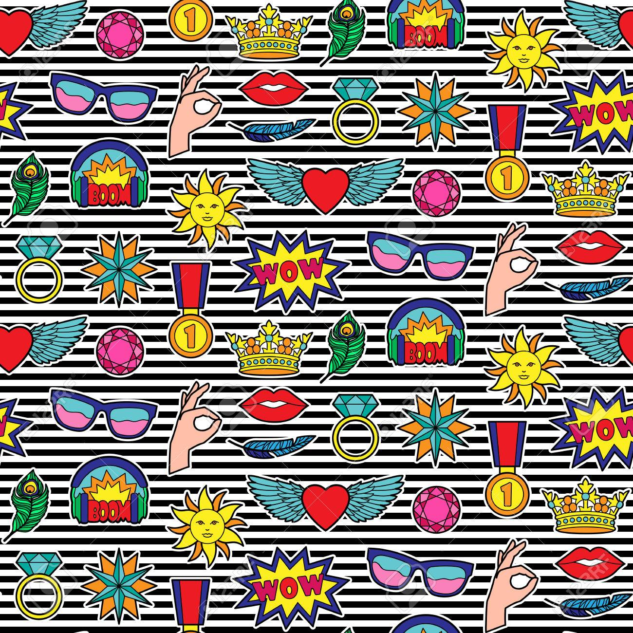 Seamless Pattern Of Fashion Patches On Striped Background Pin 1300x1300