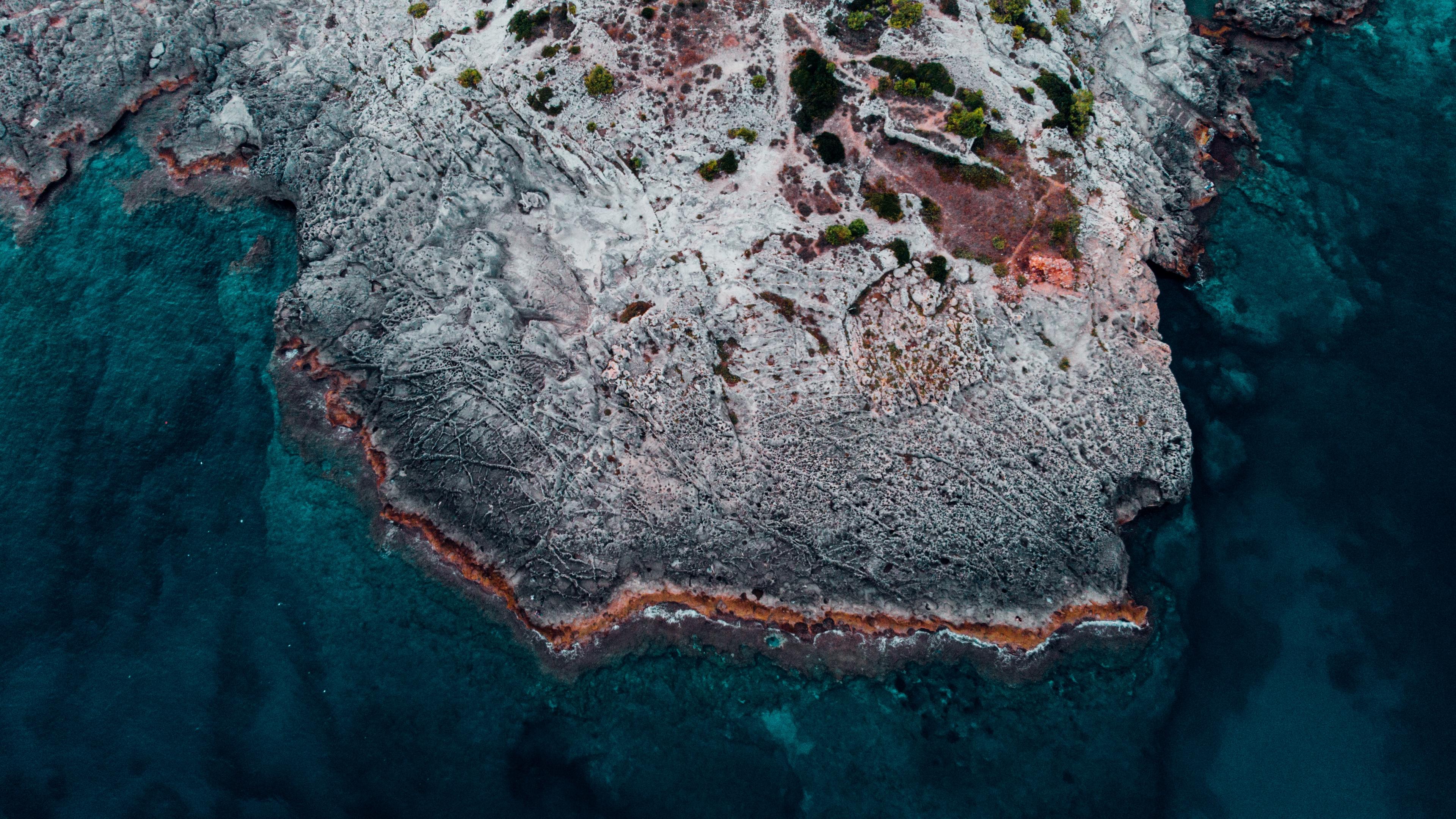 Wallpaper 4k ocean shore aerial view water stones 4k aerial 3840x2160
