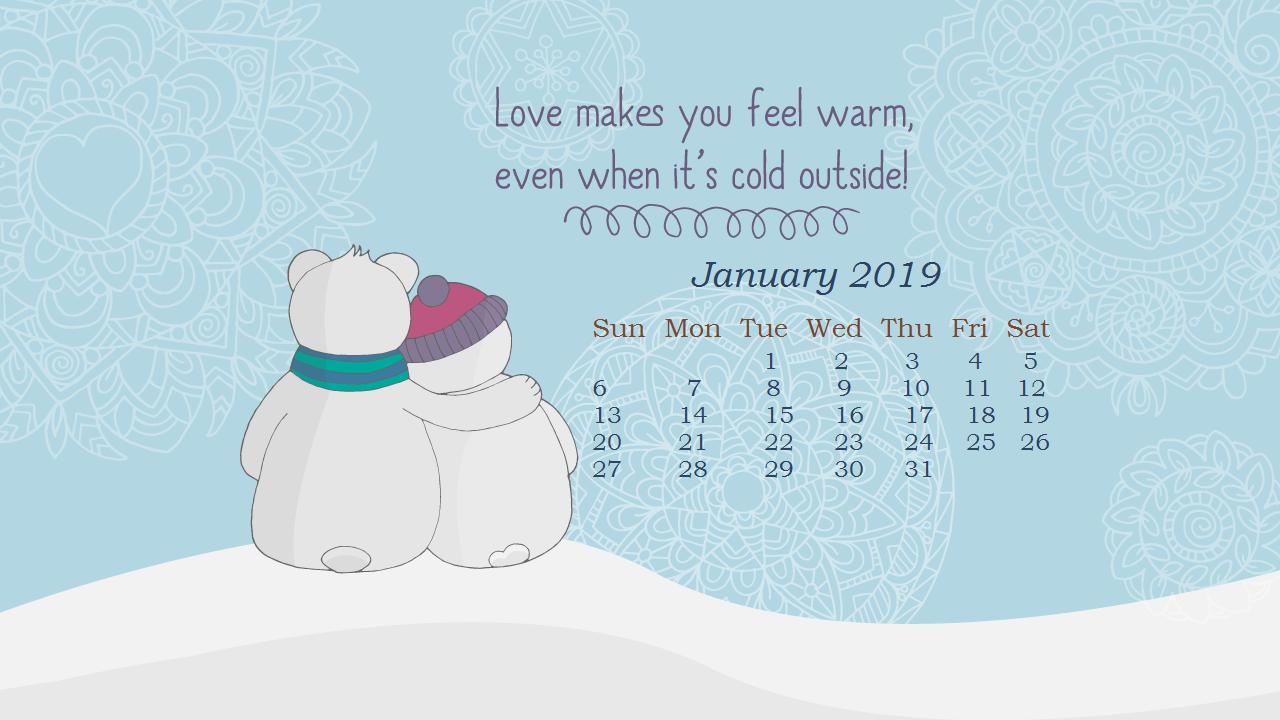 January 2019 HD Calendar Wallpapers Calendar 2019 1280x720
