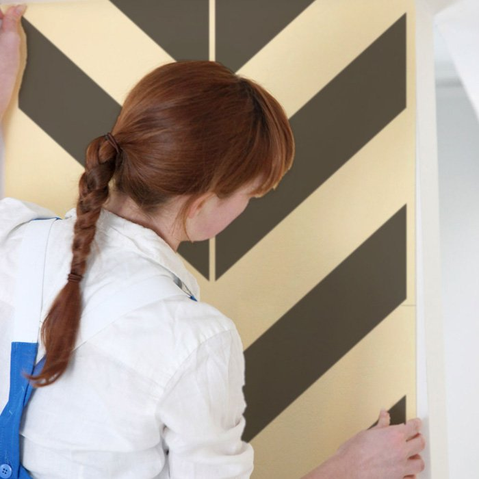 Pre spaced Chevron design on an easy to apply wallpaper style sheet 700x700