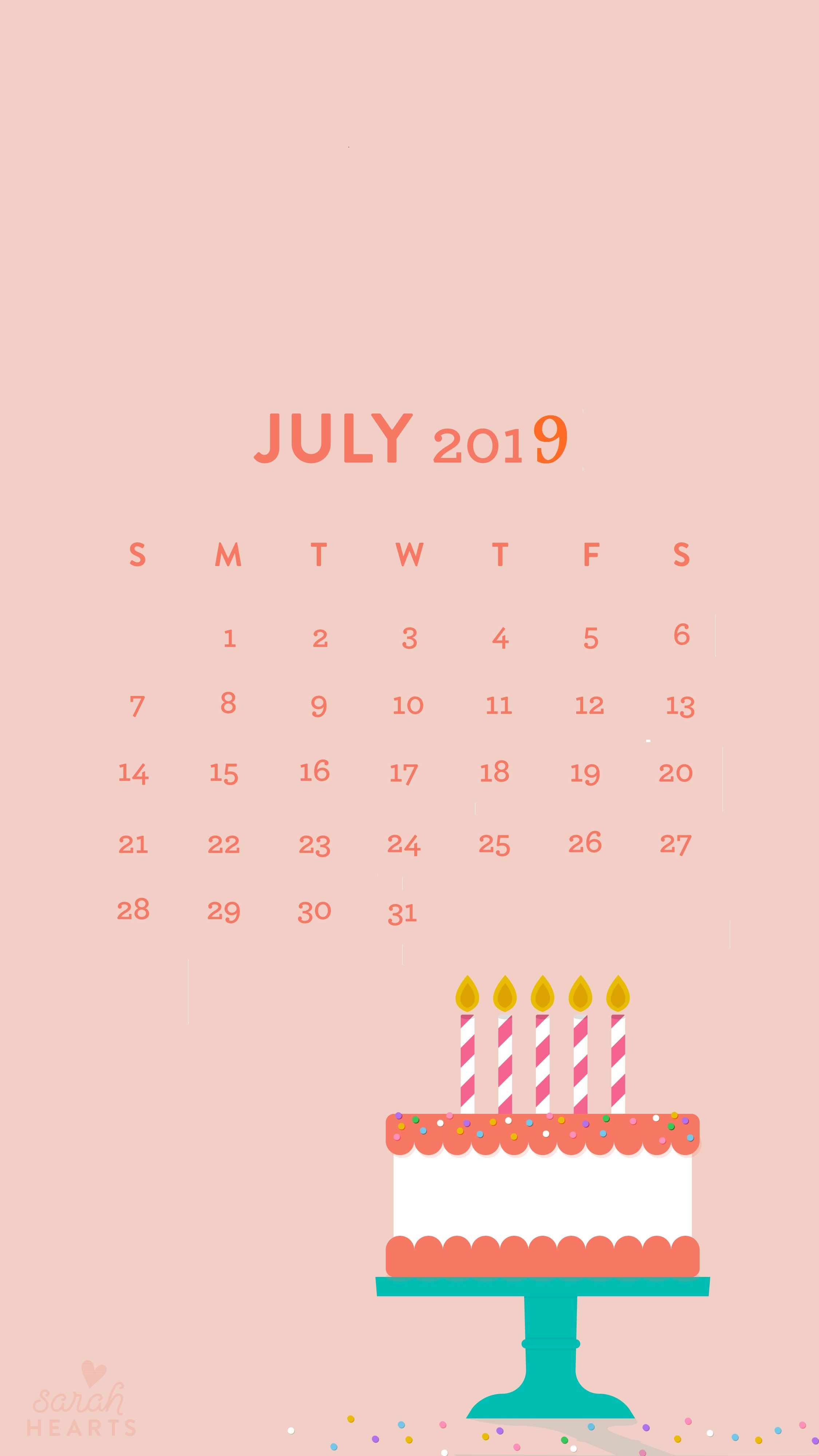 July 2019 iPhone Calendar Wallpaper Homemaking in 2019 2250x4000