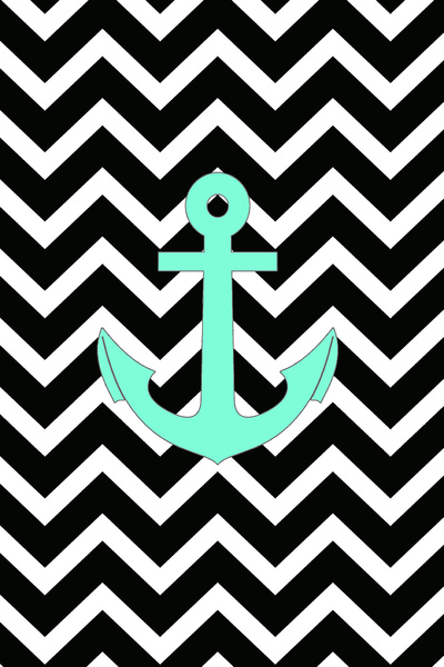 Tiffany Turquoise Anchor Black Zigzag Pattern Art Print by 400x600