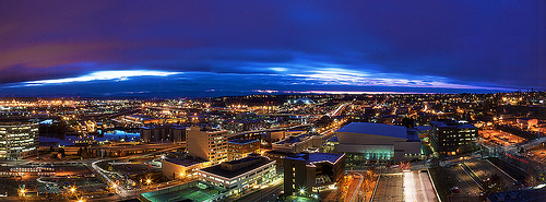 Tacoma WA Aerial Panoramic View from the Hotel Murano in 500x185