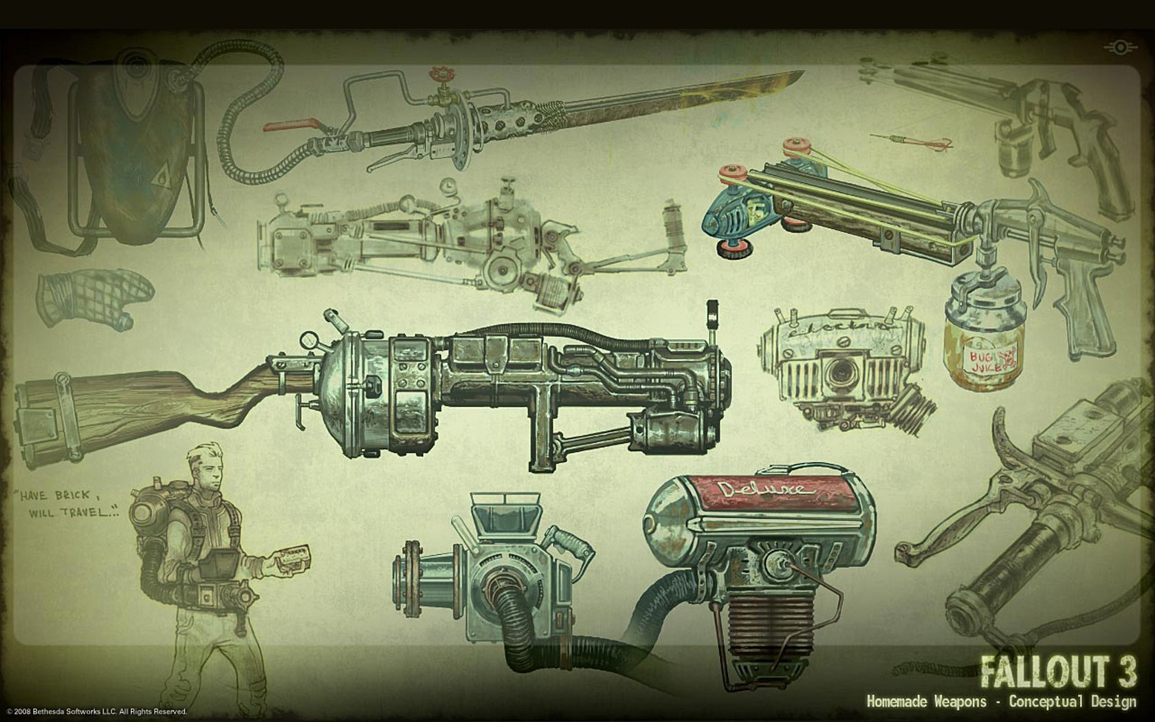 Fallout 3 Weapons Google Skins Fallout 3 Weapons Google Backgrounds 1680x1050