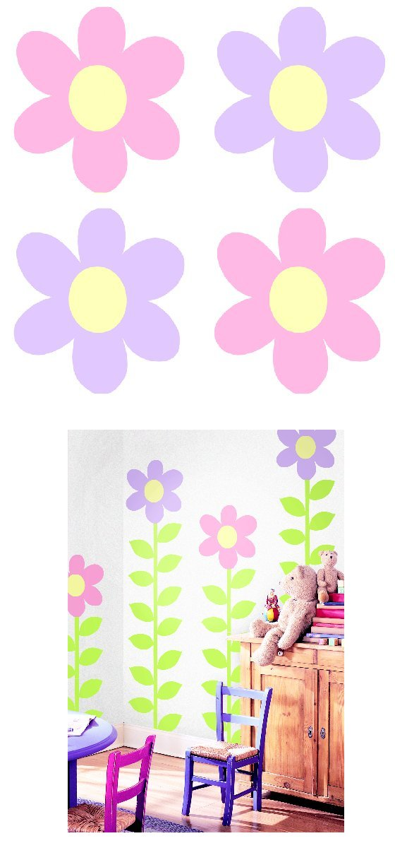 Pink Purple Flower Kidifexs Peel and Stick Sticker   Wall Sticker 560x1200
