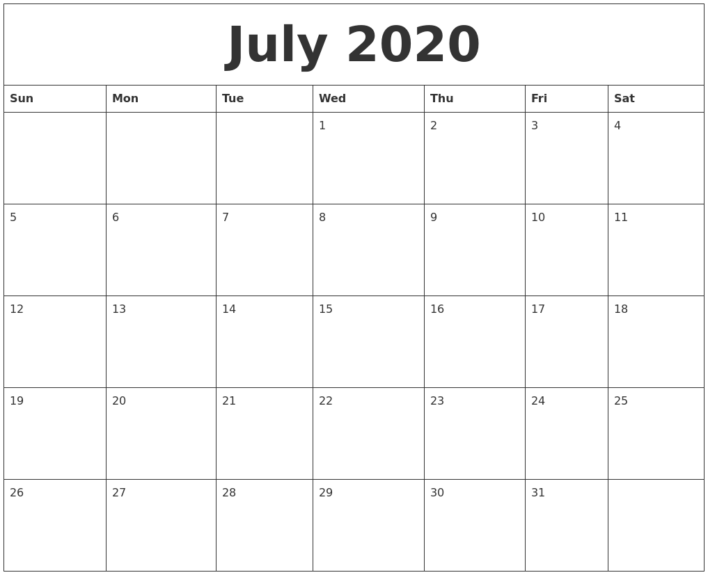 Awesome July 2020 Calendar PDF Word Excel Template 1017x827