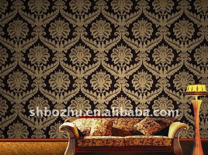 Modern Design Italian Style Deep Embossed Chinese PVC Wallpaper 670x500