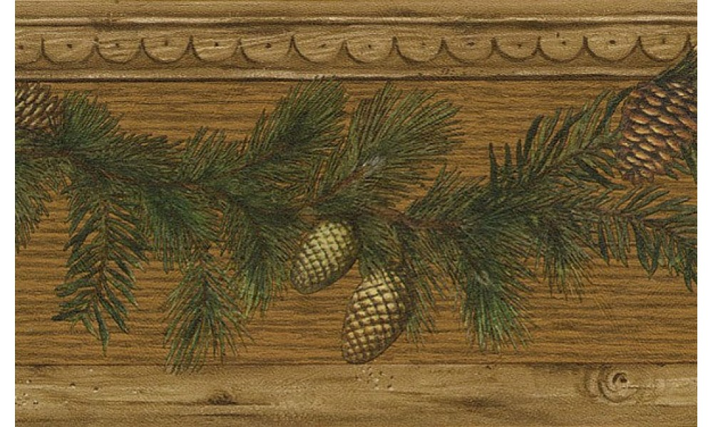 Home Brown Pine Cone Wood Wallpaper Border 1000x600