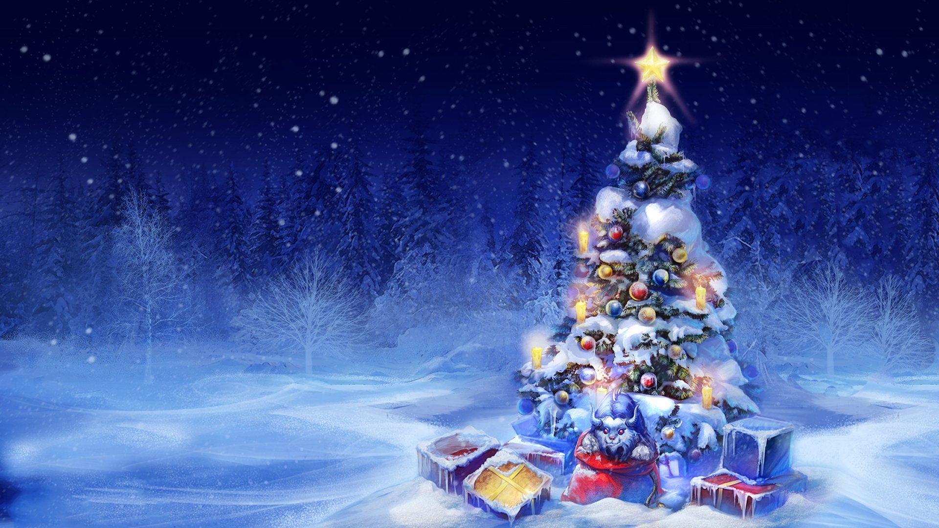 christmas tree gifts lights new year snow toys HD wallpaper 1920x1080