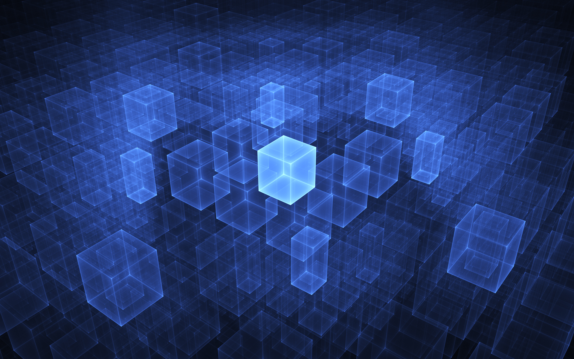 Wallpaper Digital Blue Cubes 1920x1200