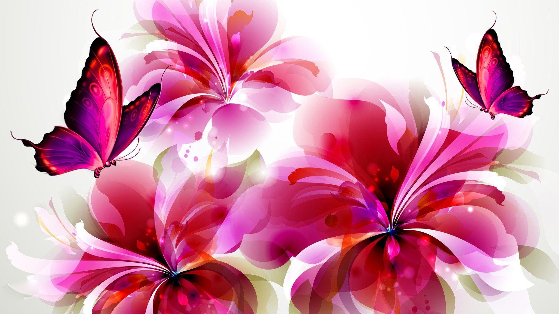 Butterflies and Flowers Clip Art Flowers and butterflies 1920x1080
