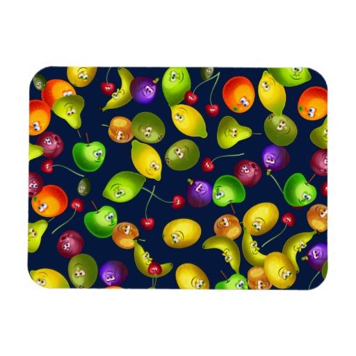 Cute Cartoon Mixed Fruit Wallpaper Design Vinyl Magnets Zazzle 512x512