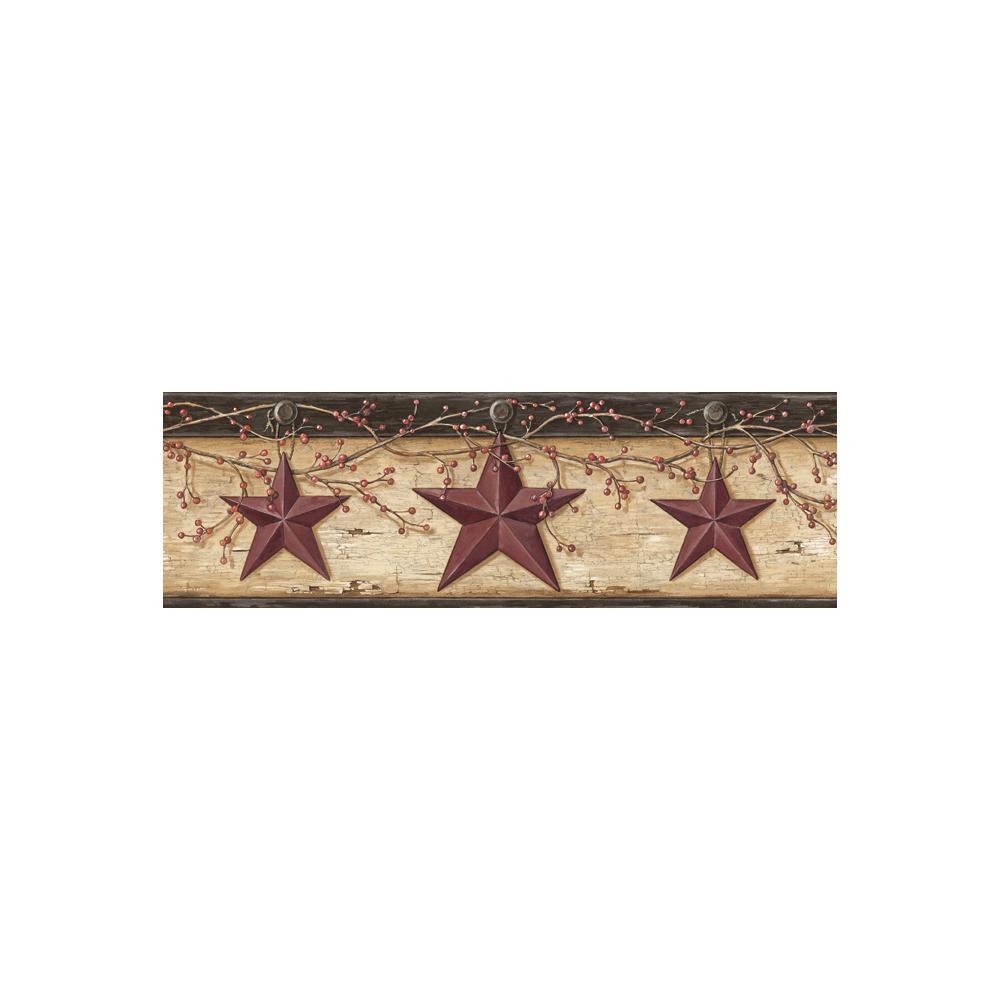Chesapeake Graham Sand Rustic Star Trail Wallpaper Border Sample 1000x1000