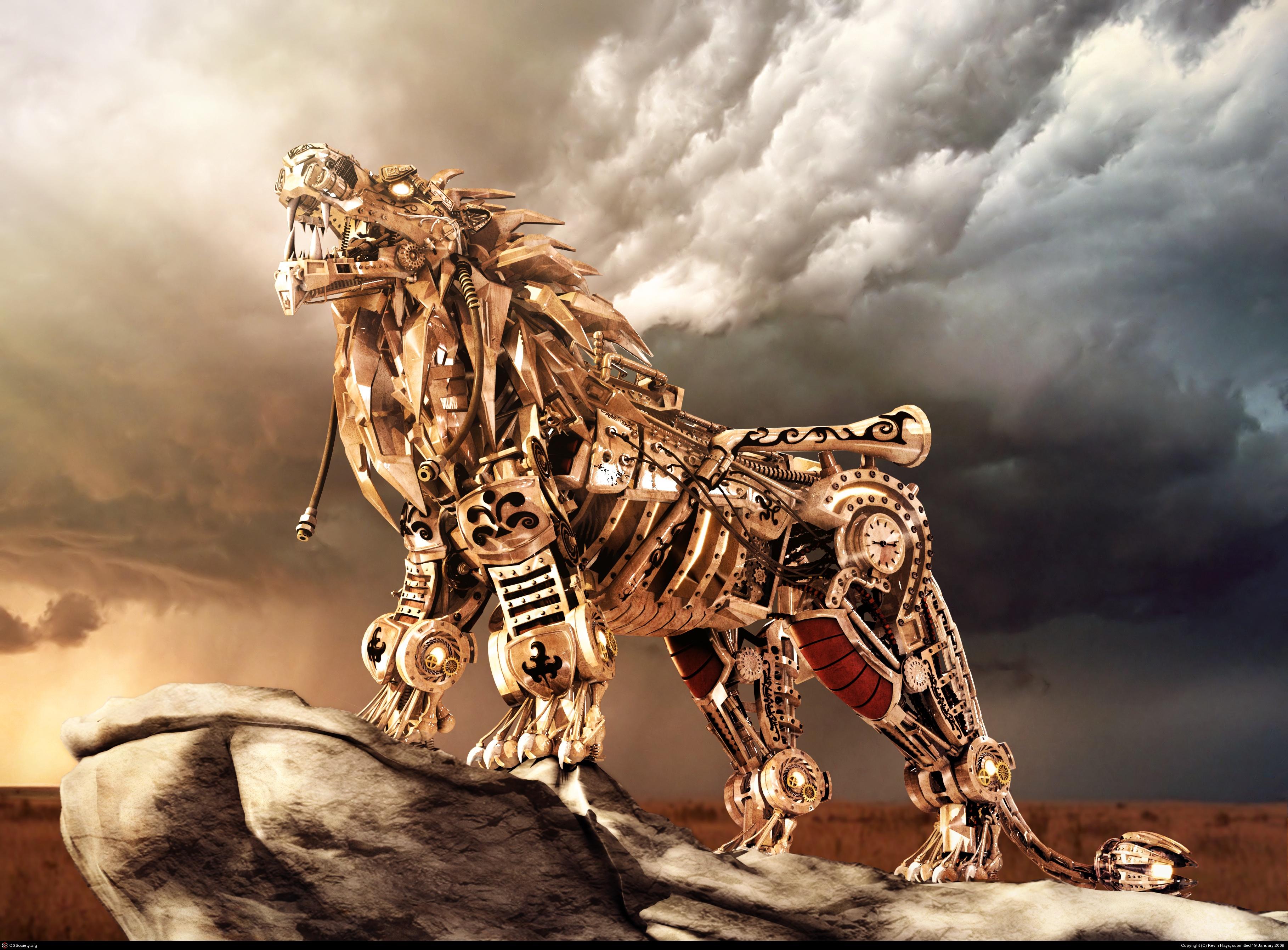 Steampunk Lion Robot mechanical wallpaper 3636x2683 62474 3636x2683