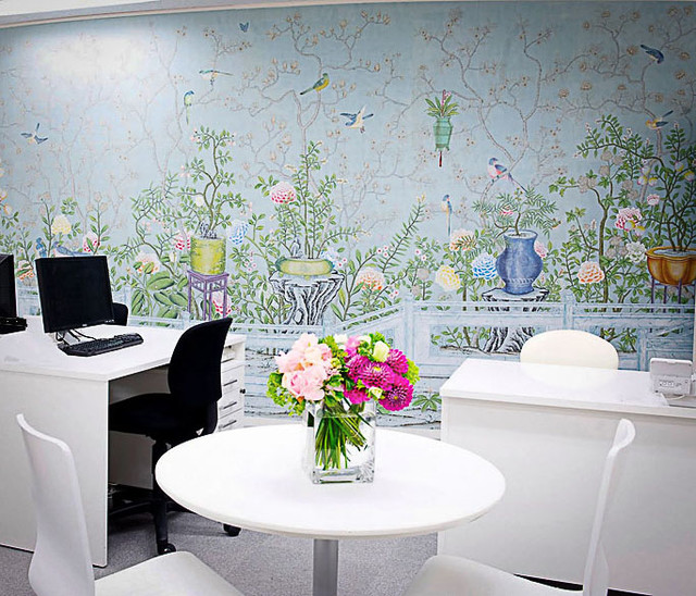 Chinoiserie Hand Painted Wallpaper   Asian   other metro   by 640x548