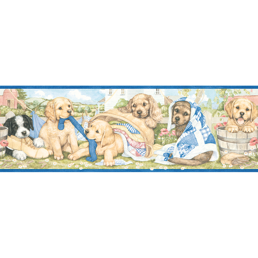 roth 5 Laundry Puppies Prepasted Wallpaper Border at Lowescom 900x900