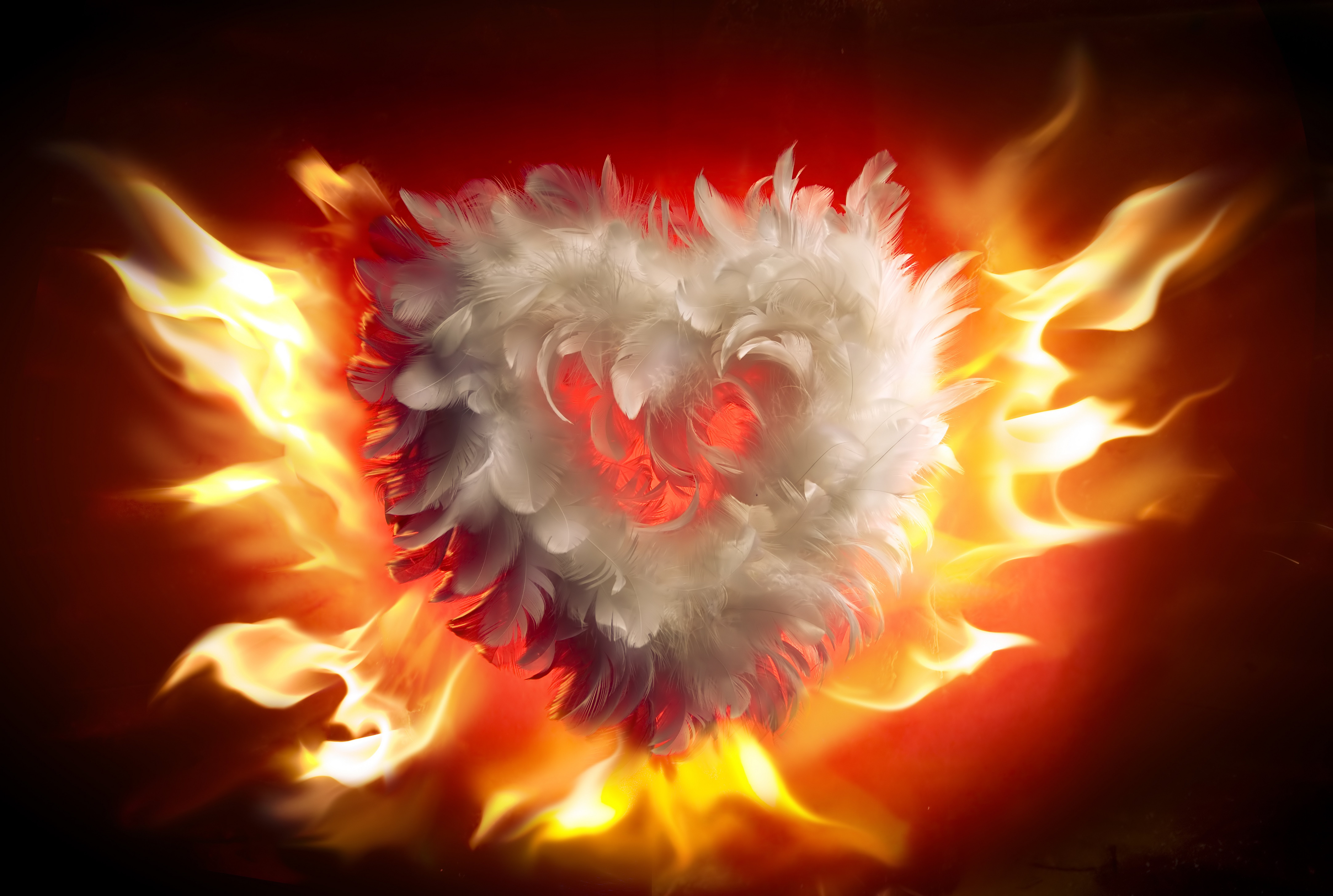 Arts fire valentines day heart love flames heart wallpaper 8662x5824