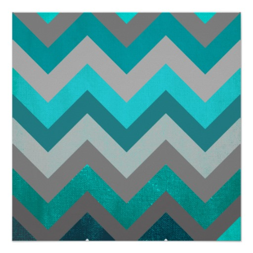 Trendy Girly Gray Teal Chevron Zigzag Pattern Poster Zazzle 512x512