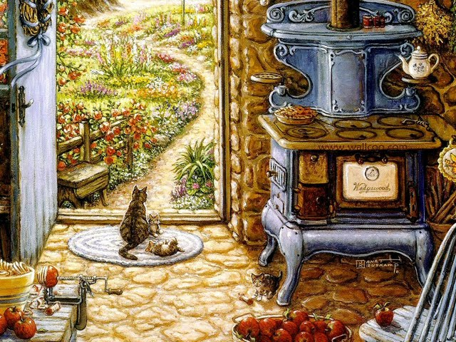 Bue Stove   Heartwarming Secen of Country Kitchen Wallpaper 640x480