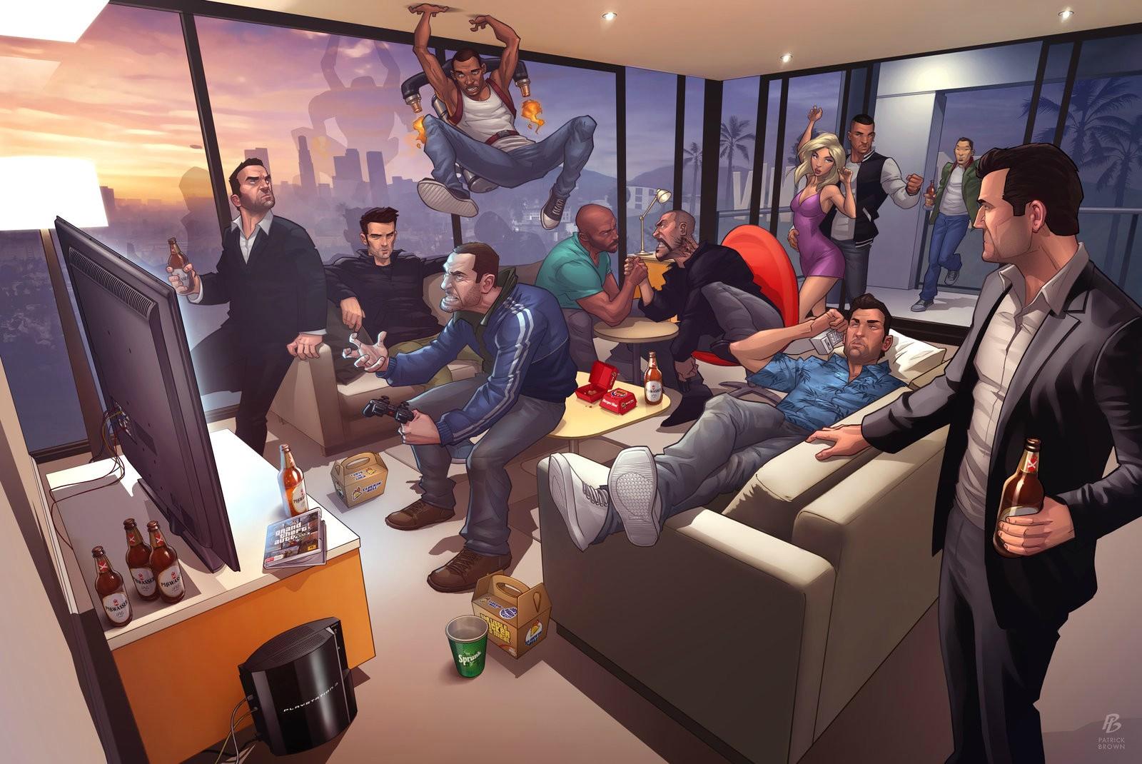 la saga Grand Theft Auto jugando a GTA V en un impresionante wallpaper 1600x1070