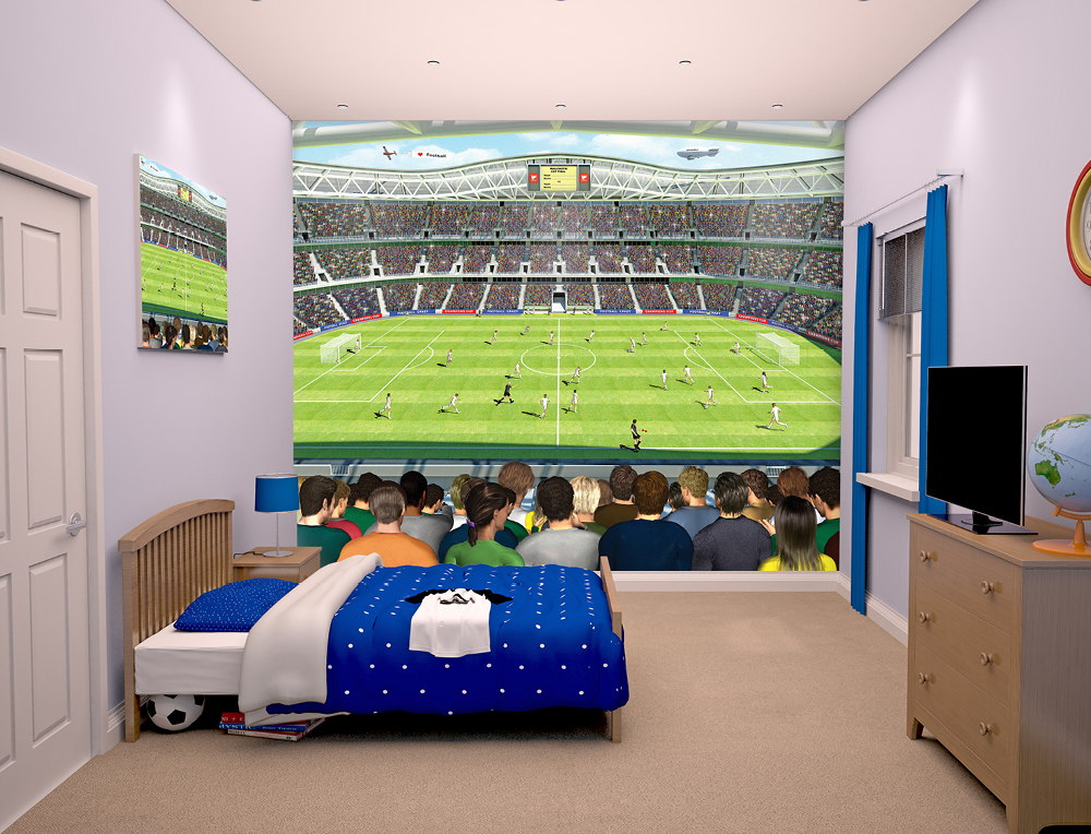Football Stadium Bedroom Mural 10ft x 8ft Walltastic 1000x764