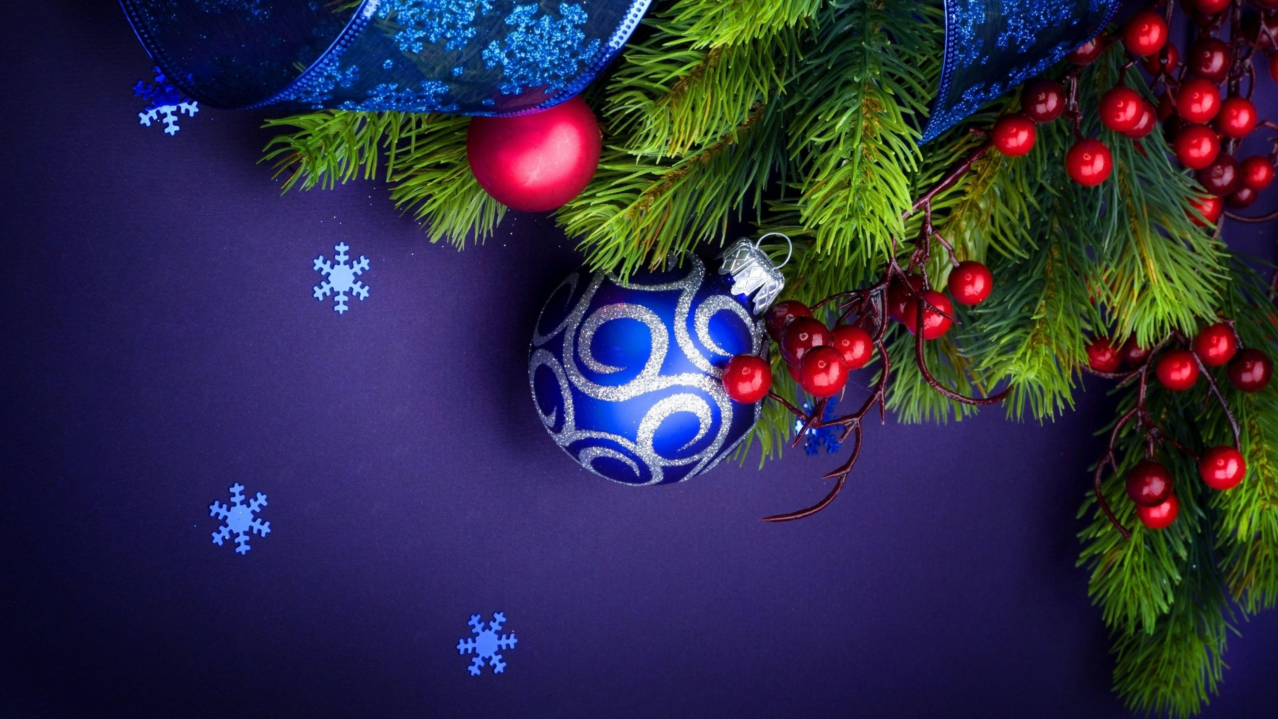 Blue Christmas Wallpaper HD 2560x1440