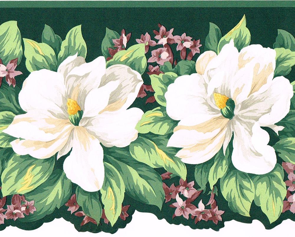 Magnolia Flower Floral Die Cut Sculptured Wallpaper Border eBay 1000x803
