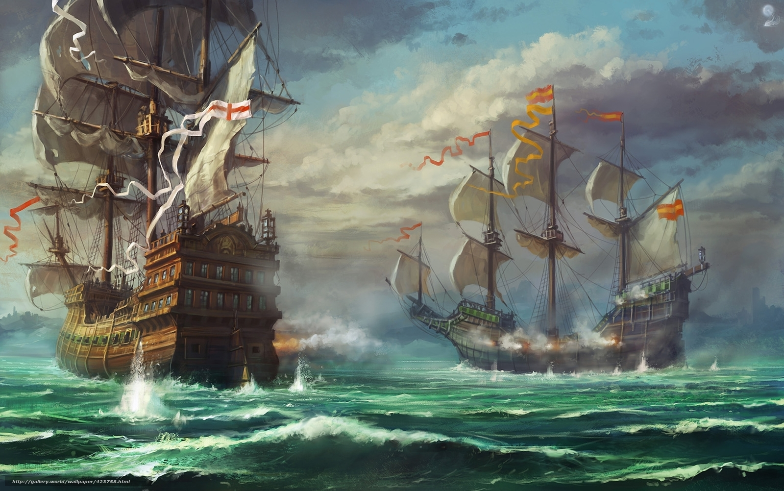 wallpaper Art Ships sailing ship sea desktop wallpaper 1600x1002